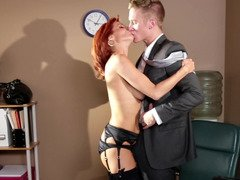 Redhead gets undressed and then her pussy gets rammed hard