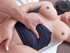 Raven haired vixen is giving a blowjob and doing anal