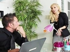 Blonde secretary Ashley Fires gets booty licked and moreover fuck hole fucked by her boss