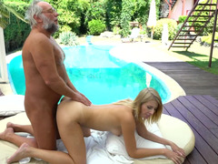 Beautiful blonde slut is willing to satisfy this super horny grandpa