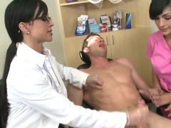 Dirty dentist and her nurse share the big cock patient