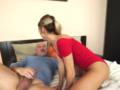 A bimbo with a fit body is on the bed and also her pussy is ravaged deeple