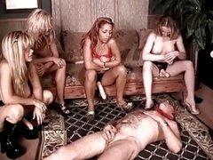 These sluts make him beg and additionally crawl