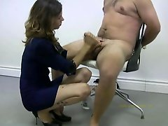 Policewoman tortures a undressed offender