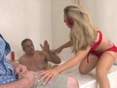 Blonde is penetrated by a father and also son in a hot bathroom scene