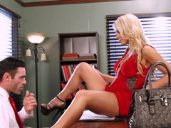 A blonde with hooters is getting fingered and fucked as well
