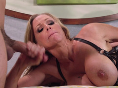 Leather lingerie babe Julia Ann takes on a couple of aroused lads