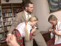 Schoolgirls and besides a excited teacher having a sexy three-way