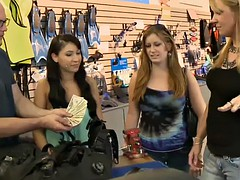 sexy ladies flashed gorgeous jugs in exchange for money