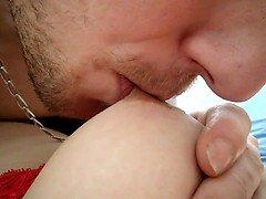Breasty dilettante kitten has her lustful boyfriend giving blowjob her ha