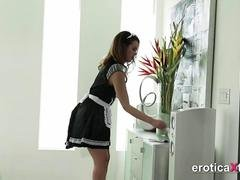 Teen maid gets a penis reward from master
