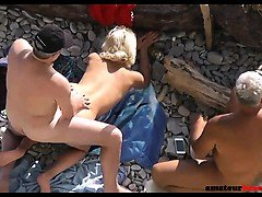 Undressed wife shared on public beach