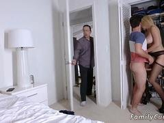 A blonde eager mom with sizeable pair of jugs is getting nailed by a strapping stepson in bedroom