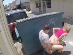 Having an intercourse behind a dumpster with a good-looking blonde kitten