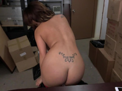 Latina takes her top and panties off and has a facial cumshot in the backroom