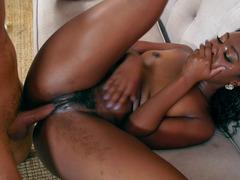 White partner's fuck pole diligently penetrates Ebony chick's pussy