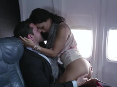 A blonde is in the plane & she beholding a couple fucking