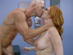A redhead that loves love pole is with her hairless partner, taking in his