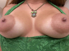 Dame with sizeable puffy nipples and besides glasses is getting licked