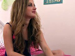 Slender teenage schoolgirl Marissa Mae takes her older brother's large purple pole