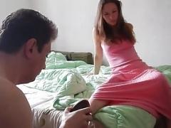 Cuckolded Servant Licks Sperm out of Summer's Cum bucket!