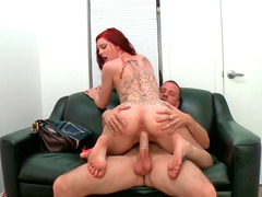 Ginger Maxx giving a blowjob and getting fucked in her pink slit