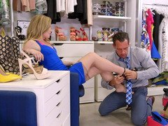 Trying shoes lady gets fucked by handsome sales assistant