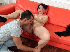 Insatiable mature is satisfied by young dude's penis