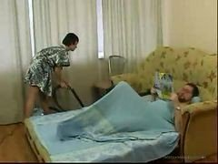 Brunette 18-19 y.o. Daughter Cleaning Bed Room Makes Old Guy Horny