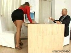 Hot Secretary Does Footjob and plus Gets Fucked