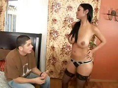 hot brunette with nylons gets fucked and furthermore sucked