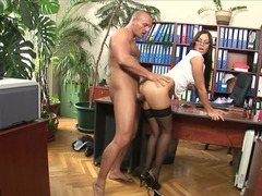 A hot thing is getting penetrated in the office really deeply