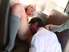 A hot busty slut is sucking and also riding a large pecker in a bus