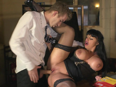 English teacher and her huge cock student fuck after class