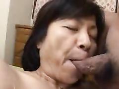 Japanese granny BJ's guzzles amp dumps uncensored