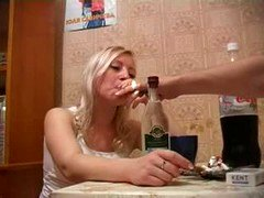 Extremely Drunk Russian Blonde Make love