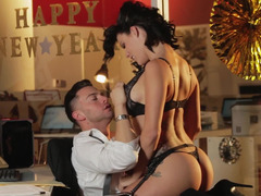 A hottie with black hair is riding a cock in front of the camera