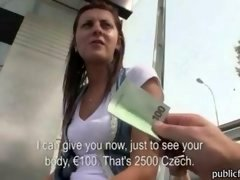 Innocent Czech babe waitng for a tram is sure and also gets her twat fucked doggystyle outdoor for money