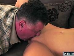 a steamy brunette with angelic pair of boobs is getting scored by an strapping grandpa
