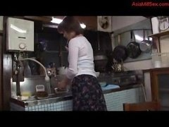 Eager mom Jerking off Fingering Herself In The Kitchen