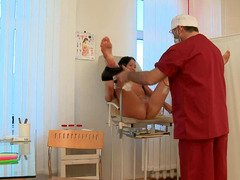 Dark haired 18-19 year mature hottie gets examined by a freaky mature dotoct