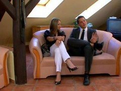 Femdom fella is at mistresses feet when she over powers him elementarily