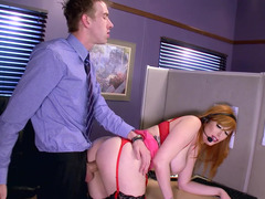 Telemarketing slut fucked over her desk by a giant dick