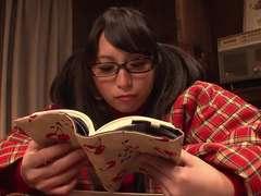 Nasty schoolgirl jerks solo while studying