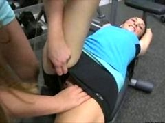Lesbos schooling their tongues at the gym