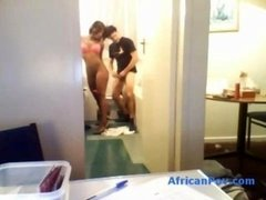 Non-professional ebony chick with getting down and dirty body fucked in the bathroom