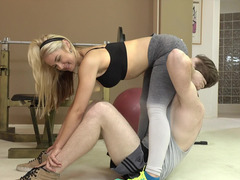 Sport and sex make blonde girl feel good and satisfied