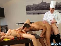 Food smeared bisex girl