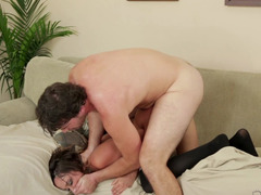 A fantastic woman that has natural tits is getting her pussy pounded