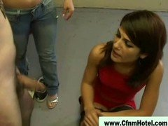 Gorgeous cfnm bitches play with man